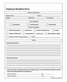 sle employee discipline form 10 exles in pdf word