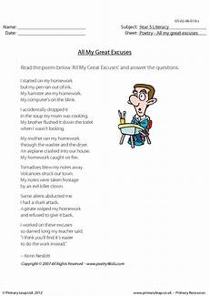 poetry homework ks2 25482 reading comprehension all my great excuses
