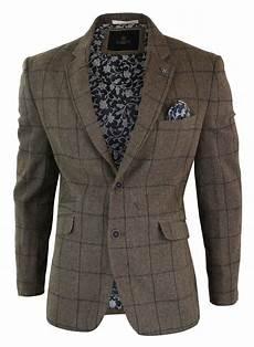 veste homme tweed chevrons marron vintage carreaux bleu