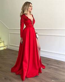 deep v neck red prom dresses 2019 long sleeve sexy applique beaded prom gown with side slit