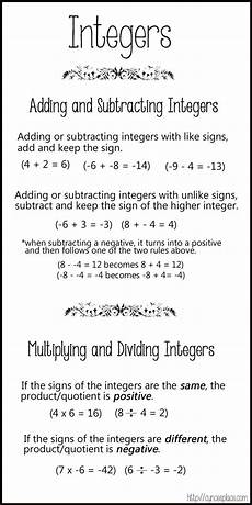 multiplication division integers worksheets 4440 adding subtracting multiplying and dividing integers chart 3 1 200 215 2 400 pixels middle school