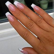 french tip nails french acrylic nails white coffin