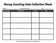 money counting data collection sheet by teacher turned