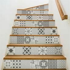 Stickers Escalier Carrelages Nuance De Gris Romantique X 2