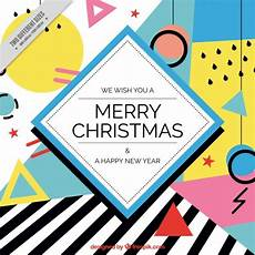 merry christmas background with geometrical shapes vector free download