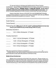 sle parent teacher conference form 9 exles in word pdf