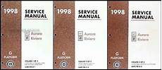 free online auto service manuals 1998 oldsmobile regency on board diagnostic system 1998 olds aurora and buick riviera shop manual set 98 oldsmobile repair service ebay