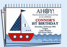 nautical birthday card template sailboat invitation printable or printed with free