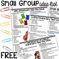 activity list all about small group time free printable idea list