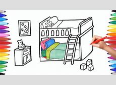 How to Draw a Children Bedroom with Bunk Bed   Drawing and