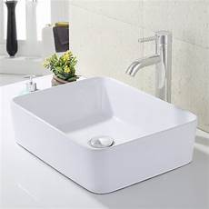 kes bathroom rectangular porcelain vessel sink above counter white countertop 712411921521 ebay