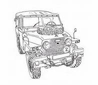 Land Rover Series III Ink Drawing  Print