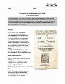 excerpts from romeo and juliet 7th 9th grade worksheet lesson planet