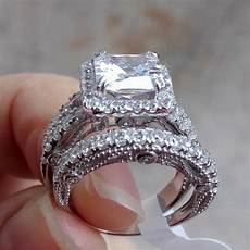 3 50 ct vintage princess white cz 925 sterling silver wedding ring size 5 10 ebay