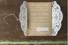 lacy brown white invitations