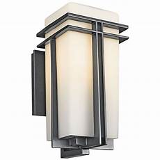 kichler modern outdoor wall light with white glass in black finish 49201bk destination lighting