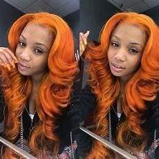 orange frontal sew in in 2019 weave hair color hair