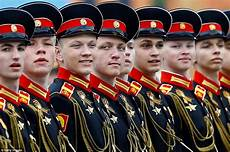russian army personnel rehearse for annual victory day