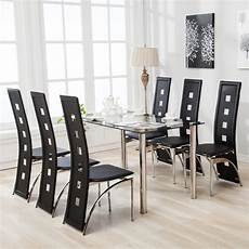 Kitchen Furniture Ebay by Mecor 7pcs Dining Table Set 6 Chairs Glass Metal Kitchen