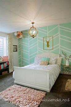 Bedroom Ideas Green And Gold mint and gold bedroom harringbone wall