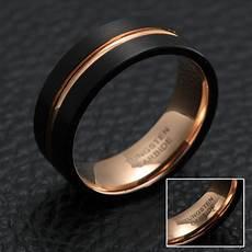 xanthus black rose gold tungsten men s band just rings
