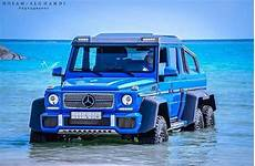 blue mercedes g 63 amg 6x6 in the sea gtspirit