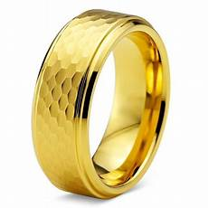 charming jewelers tungsten wedding band ring 8mm for men comfort fit hammerd 18k yellow