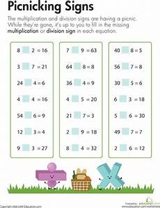 multiplication and division worksheets for grade 3 4777 multiplication division picnicking signs worksheet education