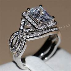 2020 4ct princess cut luxury jewelry sale 10kt white