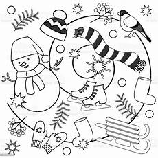 winter coloring pages for and adults stock