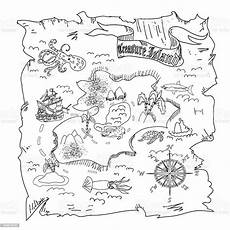 treasure island map coloring page stock illustration