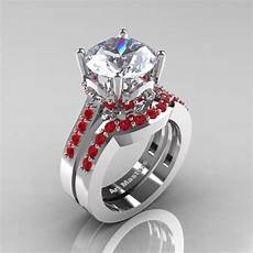 classic 14k white gold 3 0 ct white sapphire ruby solitaire wedding ring r301s 14kwgrws