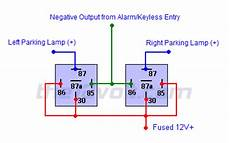 light flash two wire german vehicles negative output from alarm keyless entry relay wiring