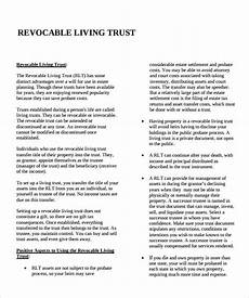 free 10 sle living trust form templates in pdf word
