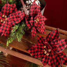 Buffalo Plaid Decorations by 22 Quot Buffalo Plaid Poinsettia With Bells F3739205