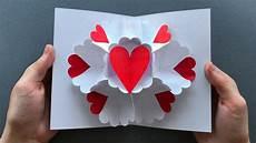 geschenke basteln mit papier pop up karte als geschenk zum