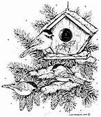 Northwoods Rubber Stamps  Wood Mounted Chickadee Trio