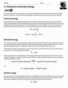 potential kinetic energy calculations worksheet answers printable worksheets and activities