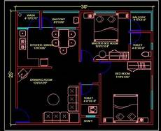 house plan dwg 2 bhk apartment autocad house plan 30 x25 dwg drawing