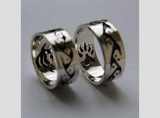 Silver Anishinaabe Life Road eagle and bear wedding rings