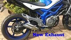 suzuki gladius exhaust suzuki gladius sfv650 exhaust change standard exhaust to