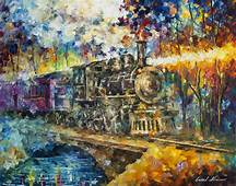OLD VAPOR TRAIN  Palette Knife Oil Painting On Canvas By