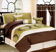 7 piece bed in a bag country green brown faux silk comforter queen size