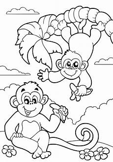 Ausmalbilder Zum Drucken Affe Ausmalbild Tiere Affen Im Dschungel Kostenlos Ausdrucken