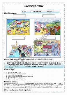 describing places worksheets printables 15977 describing places guided writing adjectives esl worksheet by andreaewa