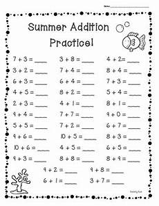 summer end of year basic addition facts practice of 3 worksheets