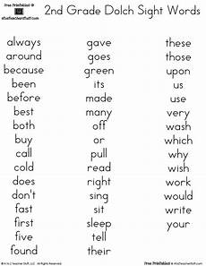 2nd grade sight words worksheets free printable dolch word lists a to z teacher stuff