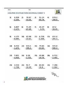 math worksheet addition and subtraction of decimals 7620 math worksheets for fifth grade adding decimals