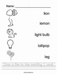 draw a line to the matching l word worksheet twisty noodle