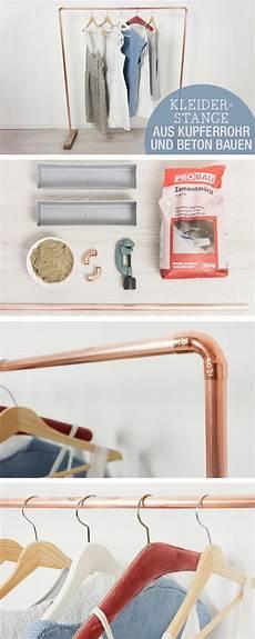 Diy Möbel Anleitung - diy anleitung kleiderstange aus kupferrohr und beton